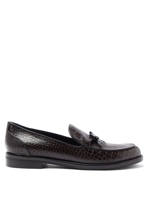 Fabrizio Viti - Keaton Bow Crocodile-effect Leather Loafers - Womens - Dark Brown