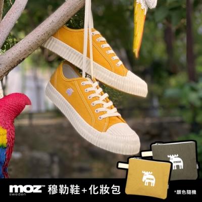 moz瑞典 駝鹿綁帶式帆布餅乾鞋(香蕉黃)