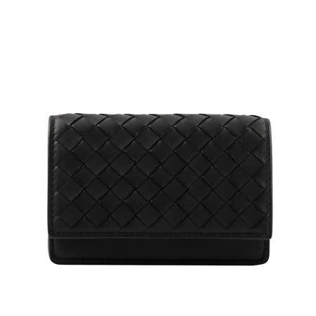 【BOTTEGA VENETA】小羊皮編織釦式卡片夾(厚款)(黑色) 133945 V001U 1000