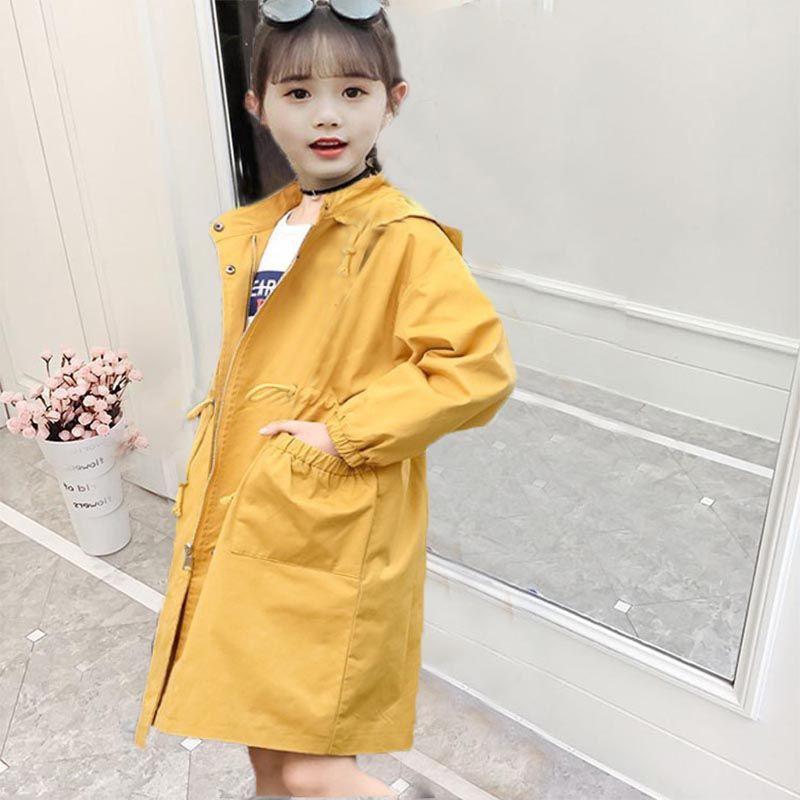女童風衣新款韓版洋氣春秋款中大童學生寬松中長款外套冬款潮☆◇▽