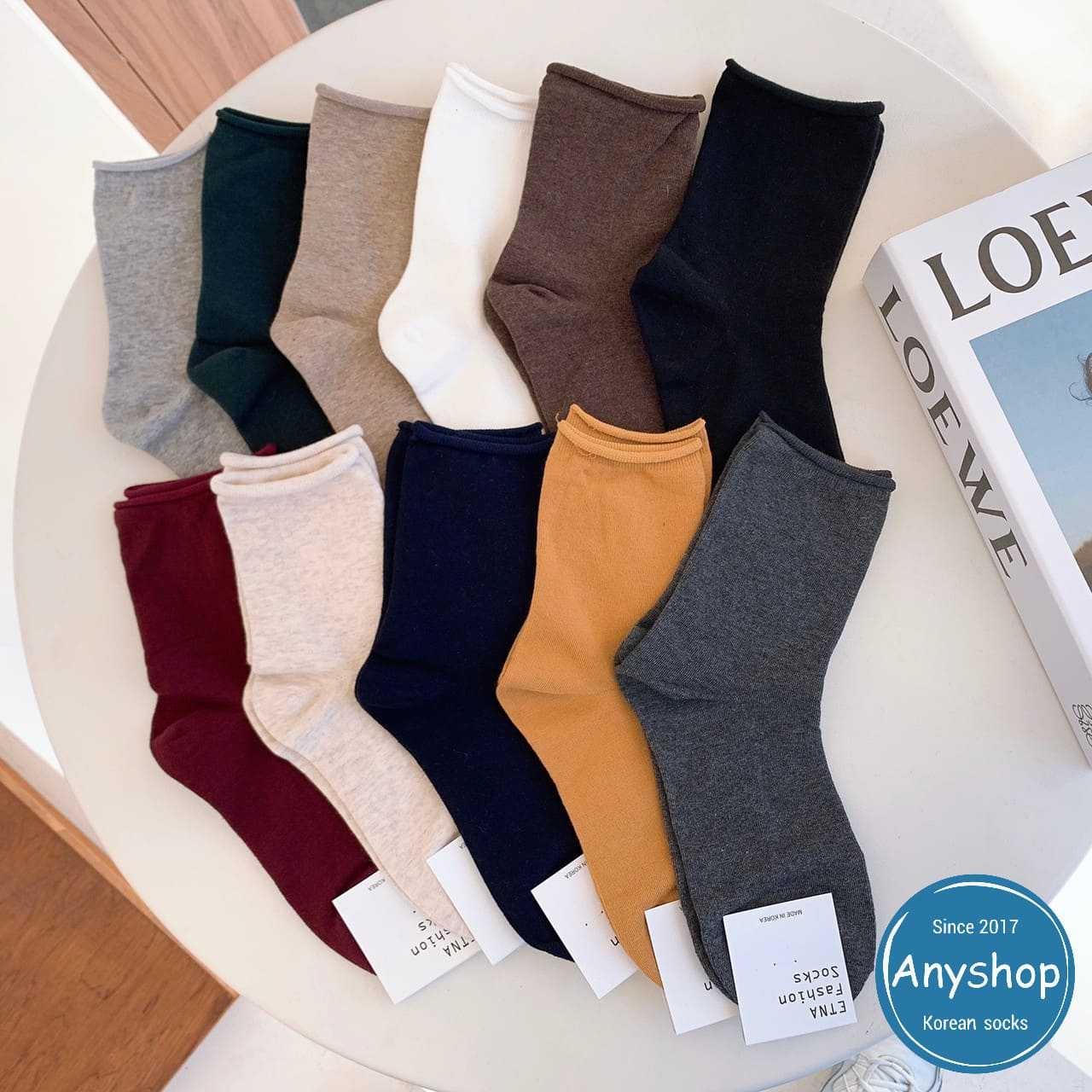 韓國襪-[Anyshop]ETNA經典無痕捲邊素襪