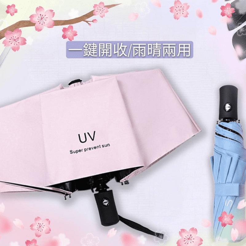 質感抗UV摺疊自動傘(黑膠/防曬/安全/降溫黑膠8骨傘)
