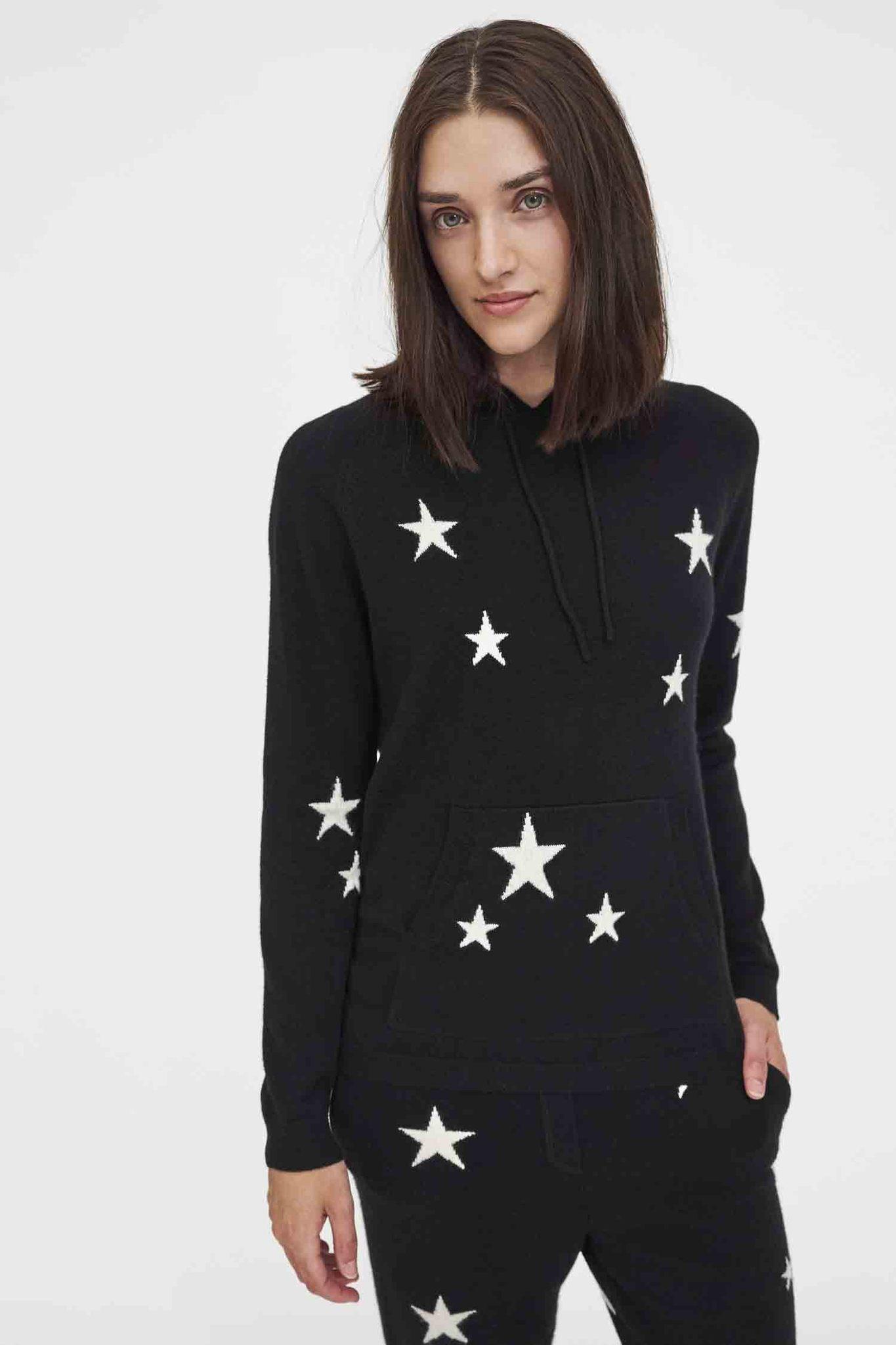 Black Cashmere Star Hoodie