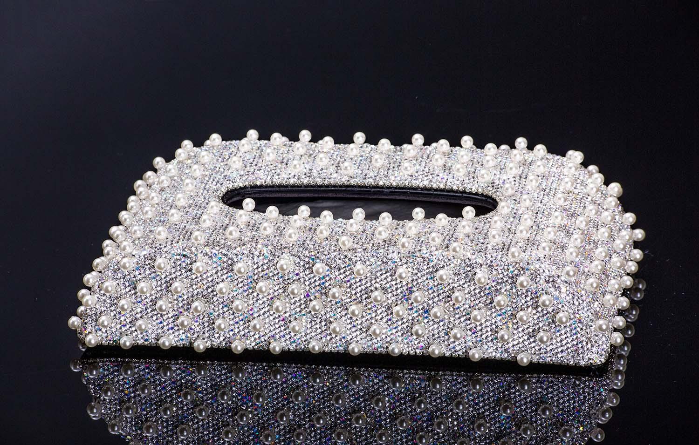 超高雅款 珍珠滿鑽面紙盒