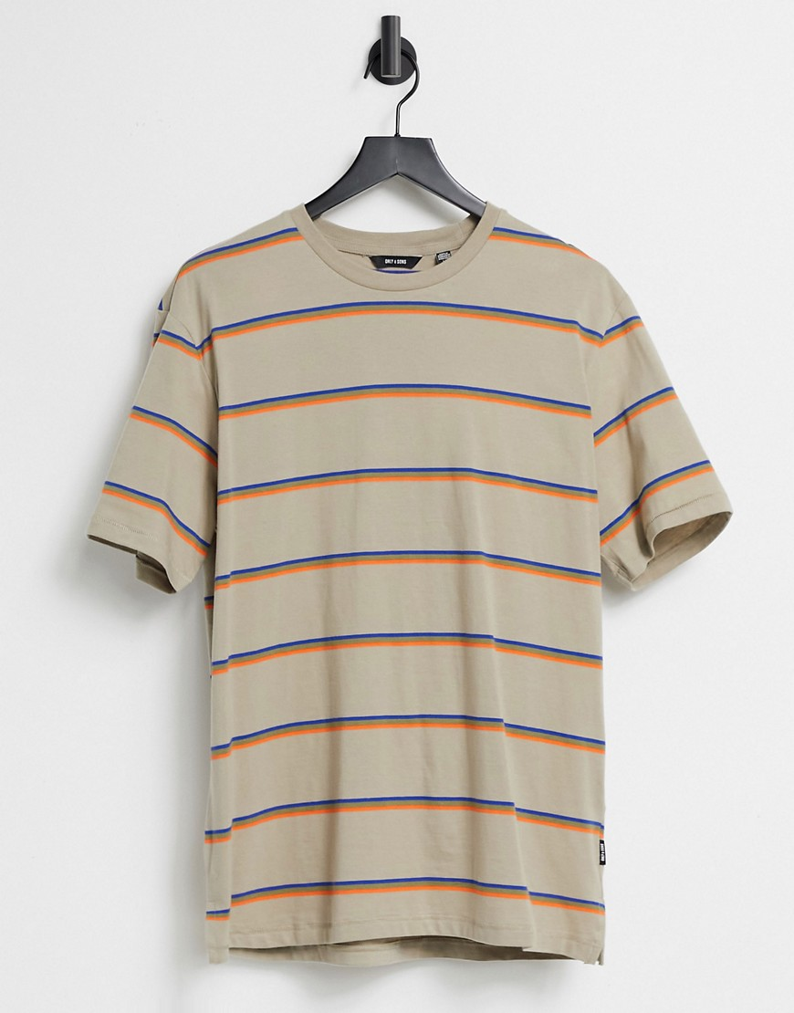 Only & Sons stripe t-shirt in beige-Grey