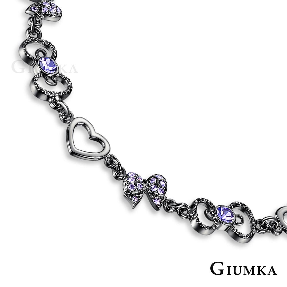 GIUMKA 夢幻世界手鍊 精鍍黑金 愛心 MH06010