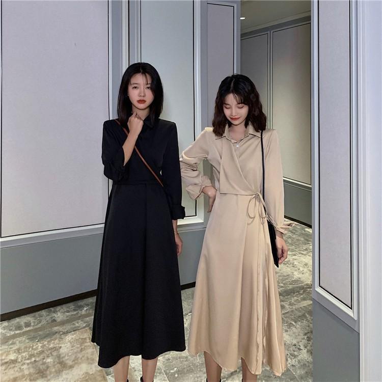 洋裝 連衣裙 長裙 氣質韓裝 韓版法式復古裙小眾設計綁帶高腰長袖西裝連衣裙