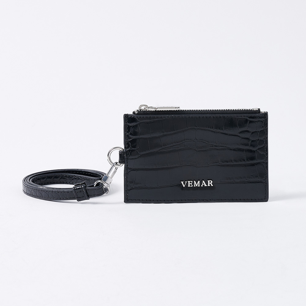 VEMAR率性鱷魚多功能票卡夾(經典黑)