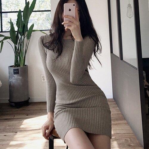 緊身洋裝 韓國秋冬打底裙氣質修身顯瘦針織裙中長款長袖緊身連身裙女 牛年新品全館免運
