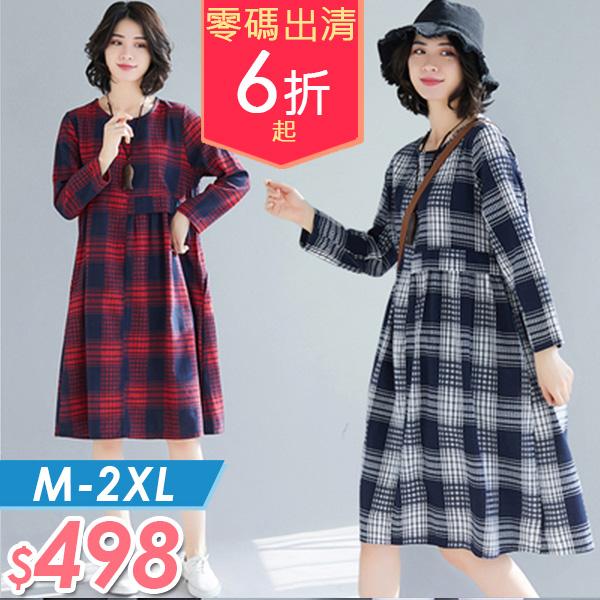 連身裙  格紋棉麻連身裙M-2XL 棉花糖女孩 【NW06836】