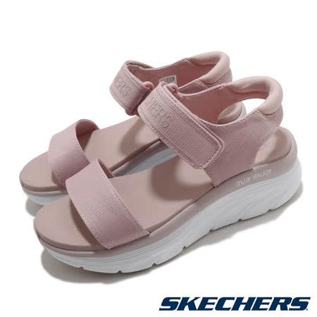 Skechers 涼鞋 D Lux Walker 休閒 女鞋 厚底 輕量 魔鬼氈 膠底 健行 郊遊 粉 白 119226BLSH 119226BLSH