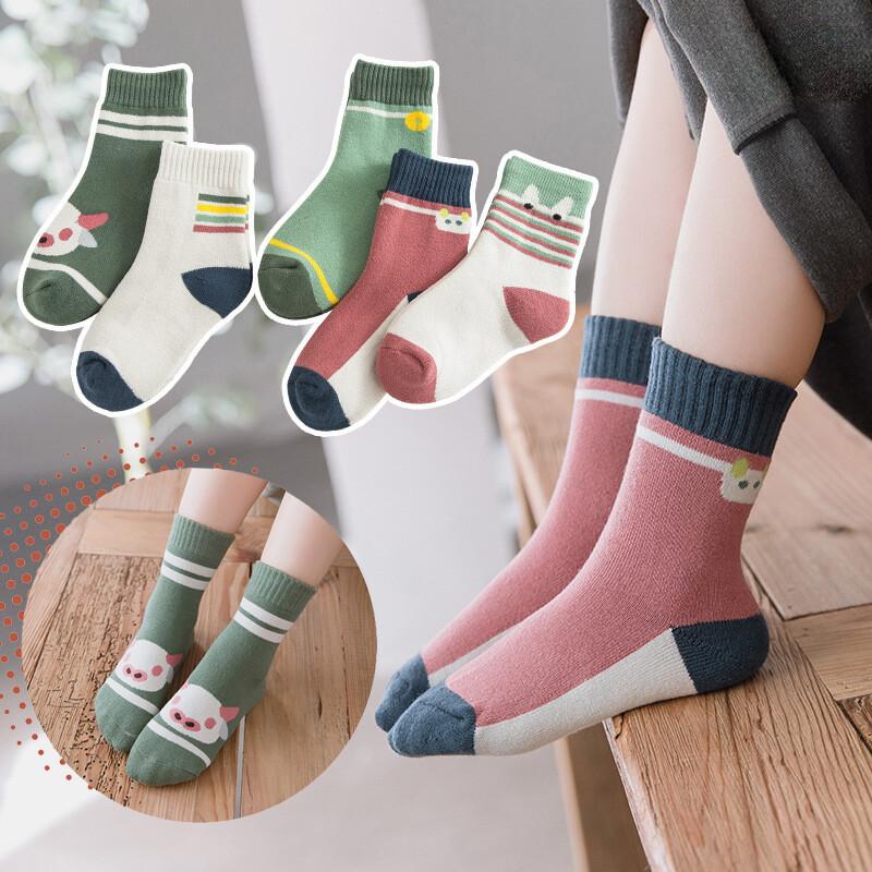 秋冬保暖加絨加厚棉質兒童5色毛圈襪(1組5雙)m1752alex shop