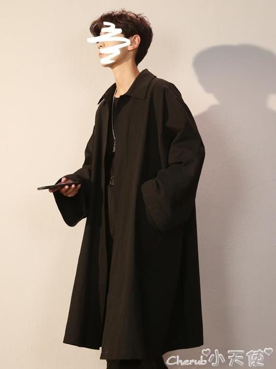 風衣外套 男士風衣中長款寬鬆帥氣過膝潮流外套2020冬季披風男黑色港風大衣
