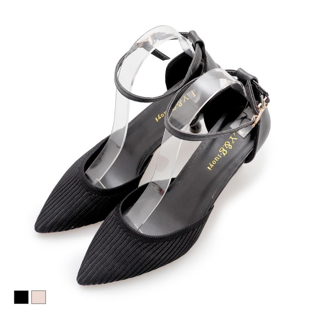 高跟鞋.韓風針織繞踝女鞋