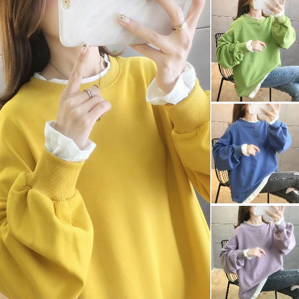 M-2XL實拍~秋冬新款韓版寬鬆大碼裝無印風假2件套薄款上衣(5色)-凱西娃娃