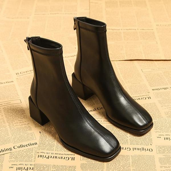 瘦瘦靴女2020年秋冬季新款韓版中跟粗跟網紅爆款顯瘦高跟女鞋短靴 後街五號