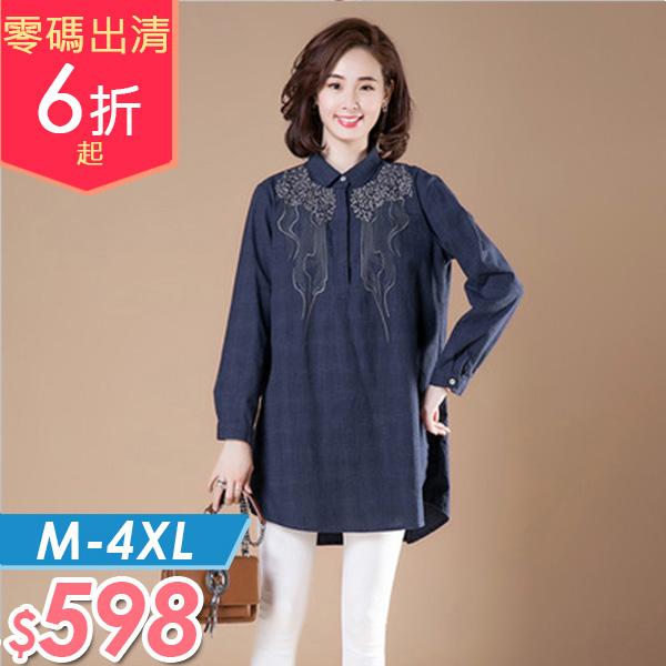 上衣  亞麻刺繡襯衫M-4XL 棉花糖女孩 【NW06809】