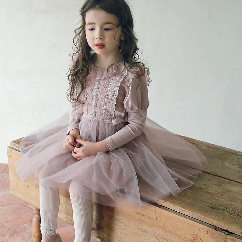 韓國 PuellaFLO - 雕花荷葉裝飾公主袖網紗洋裝-藕粉