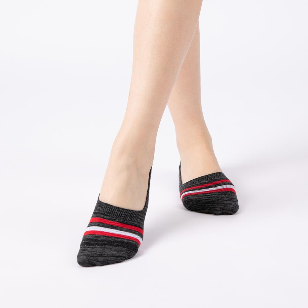 亮色條紋花紗隱形襪-深灰色 (商品編號:S0403912)