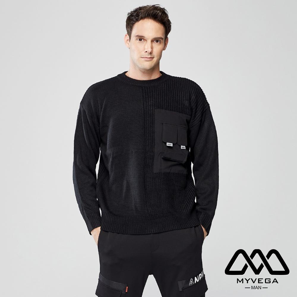 【麥雪爾】MAN寬鬆立體口袋針織衫-黑