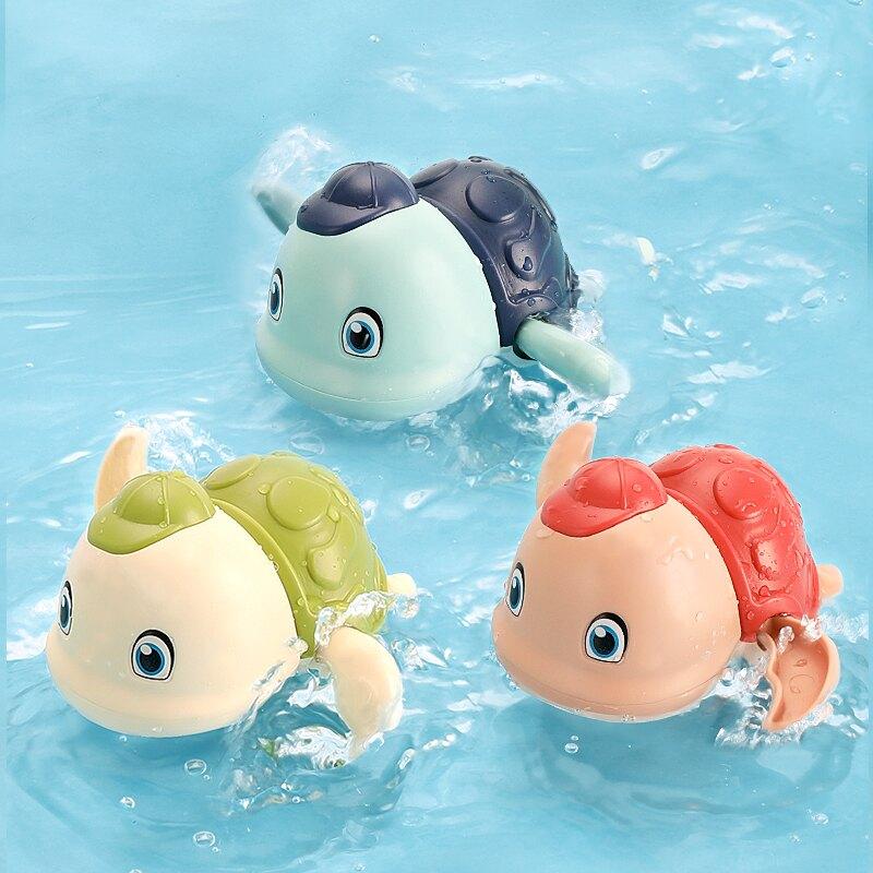 小烏龜寶寶嬰兒洗澡玩具兒童游泳戲水男孩女孩小黃鴨沐浴鴨子花灑