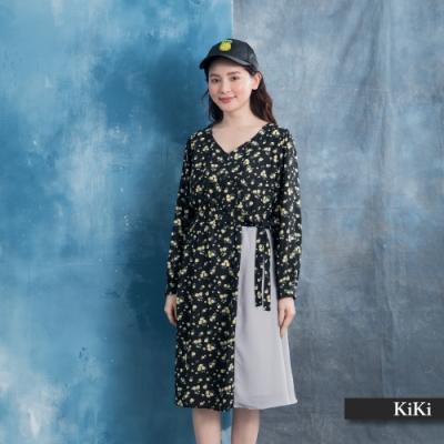 【KiKi】優雅印花拼接造型-洋裝(二色/版型修身)