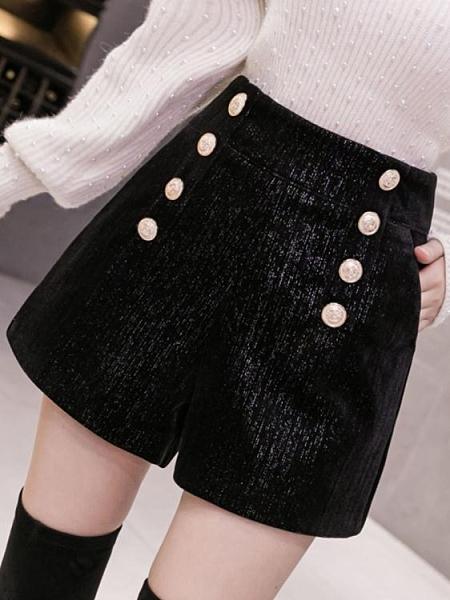 黑色毛呢闊腿褲女秋冬2021年新款洋氣寬鬆時尚高腰外穿休閒短褲子 貝芙莉