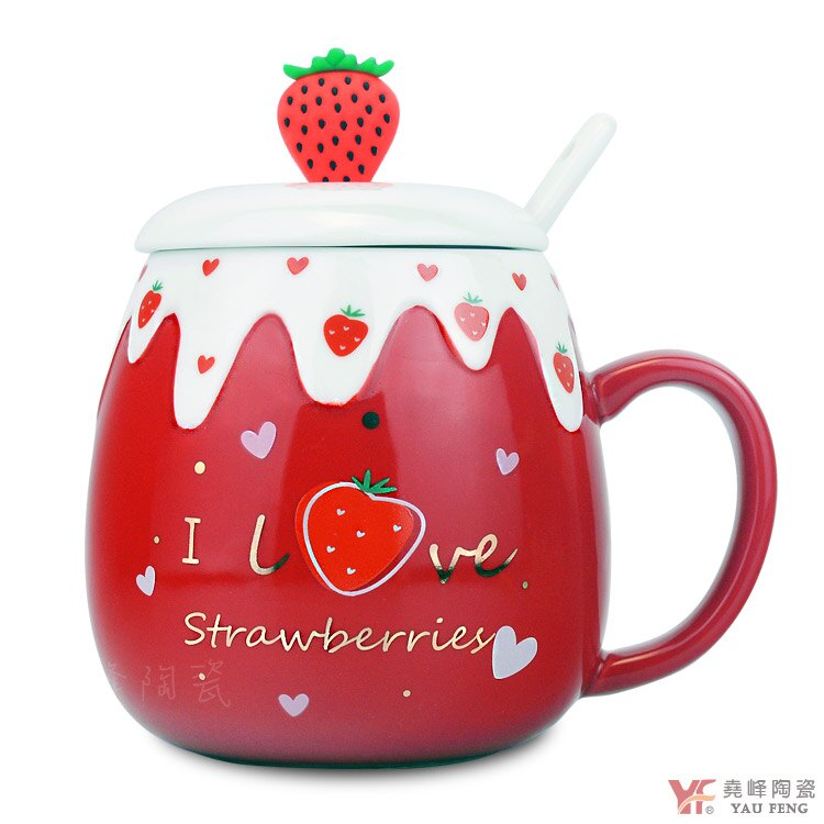 【堯峰陶瓷】免運 法式甜心草莓陶瓷蓋杯 奶油草莓系列 單入   擺盤必備   親子野餐適用   草莓季