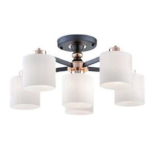 【YPHOME】現代風半吸頂5+1燈 簡易更換燈泡 附電子開關 可分段