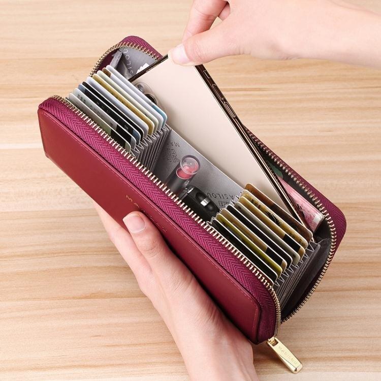 2021新款錢包女士長款防盜刷真皮大容量錢夾拉鍊多卡位卡包女手包