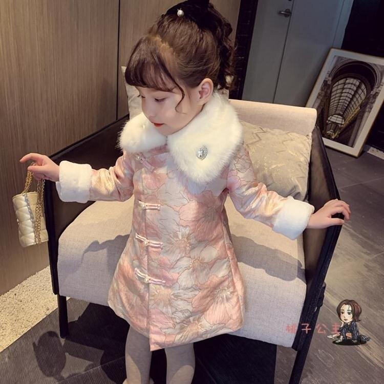 女童拜年服 女童旗袍裙冬裝2020新款兒童中國風唐裝拜年服加厚洋氣新年洋裝