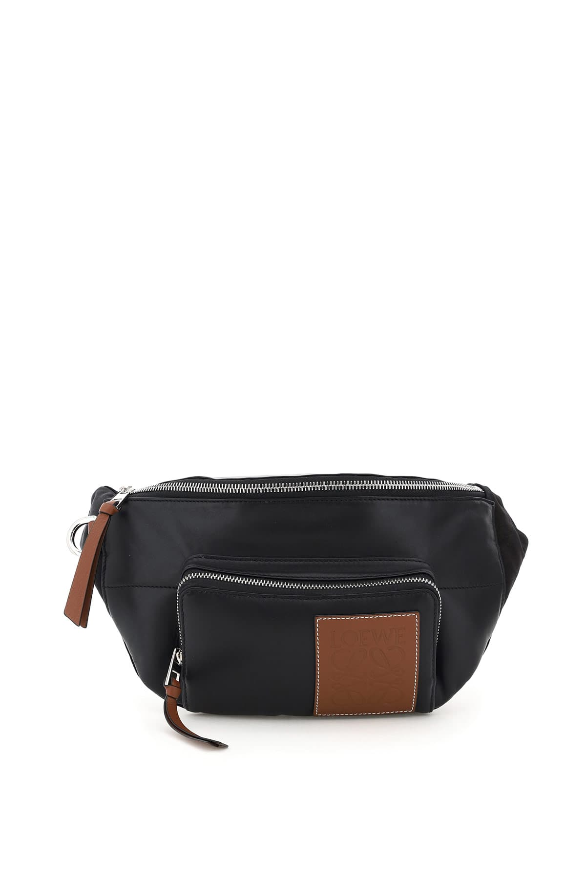 LOEWE PUFFY BELT BAG IN NAPPA AND FABRIC OS Black, Brown Leather, Technical