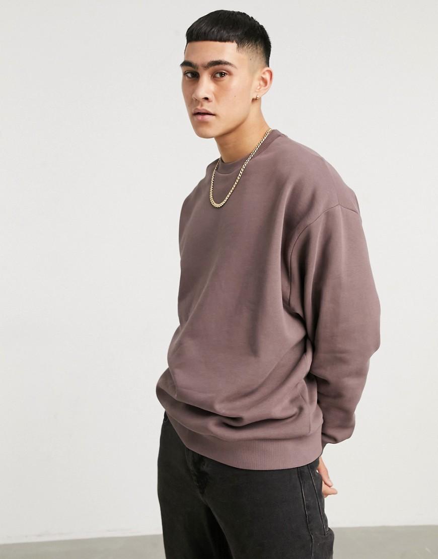 ASOS DESIGN oversized sweatshirt in washed brown