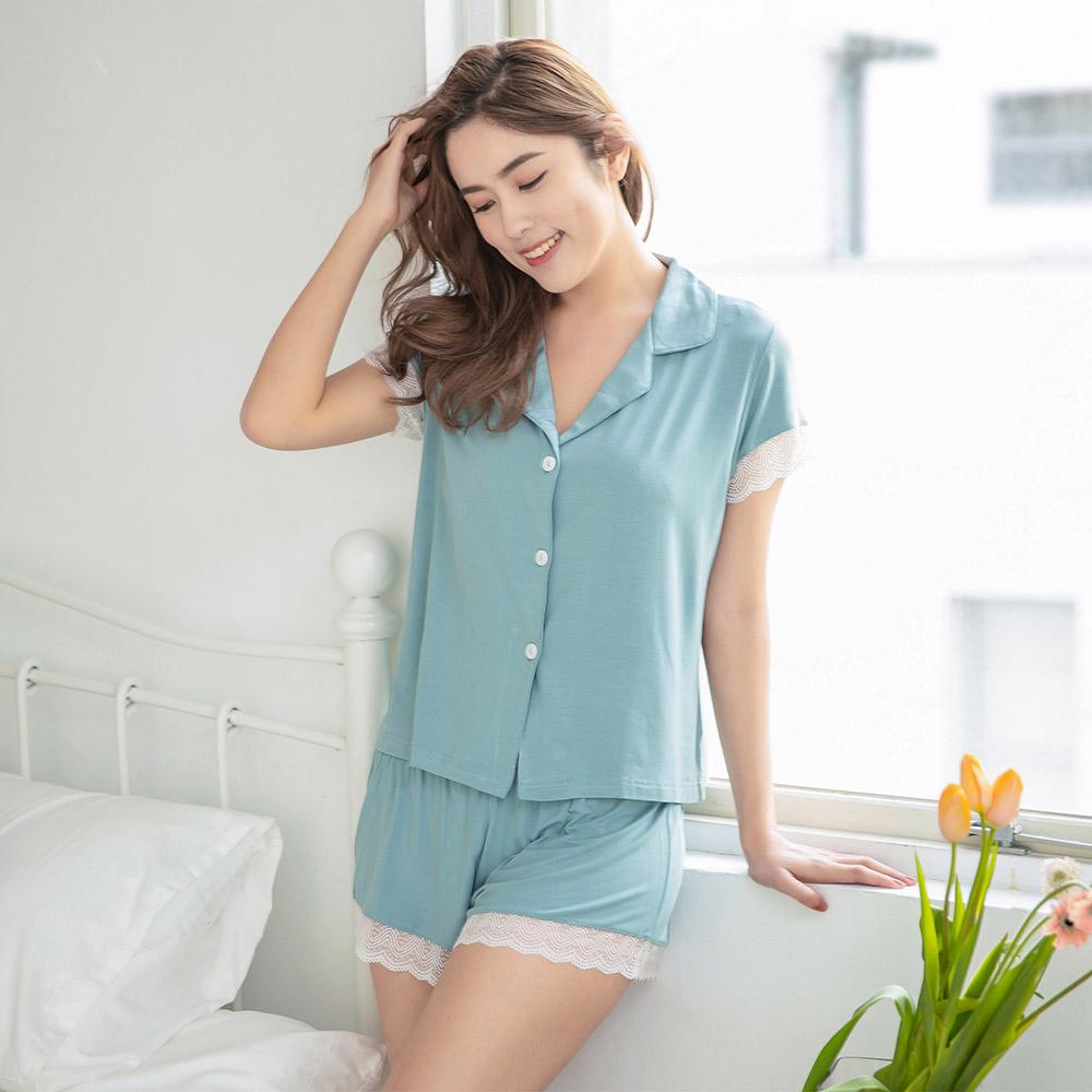 戀夏之夢 莫代爾短袖成套睡衣 (湖水綠)※特惠商品恕不可退貨