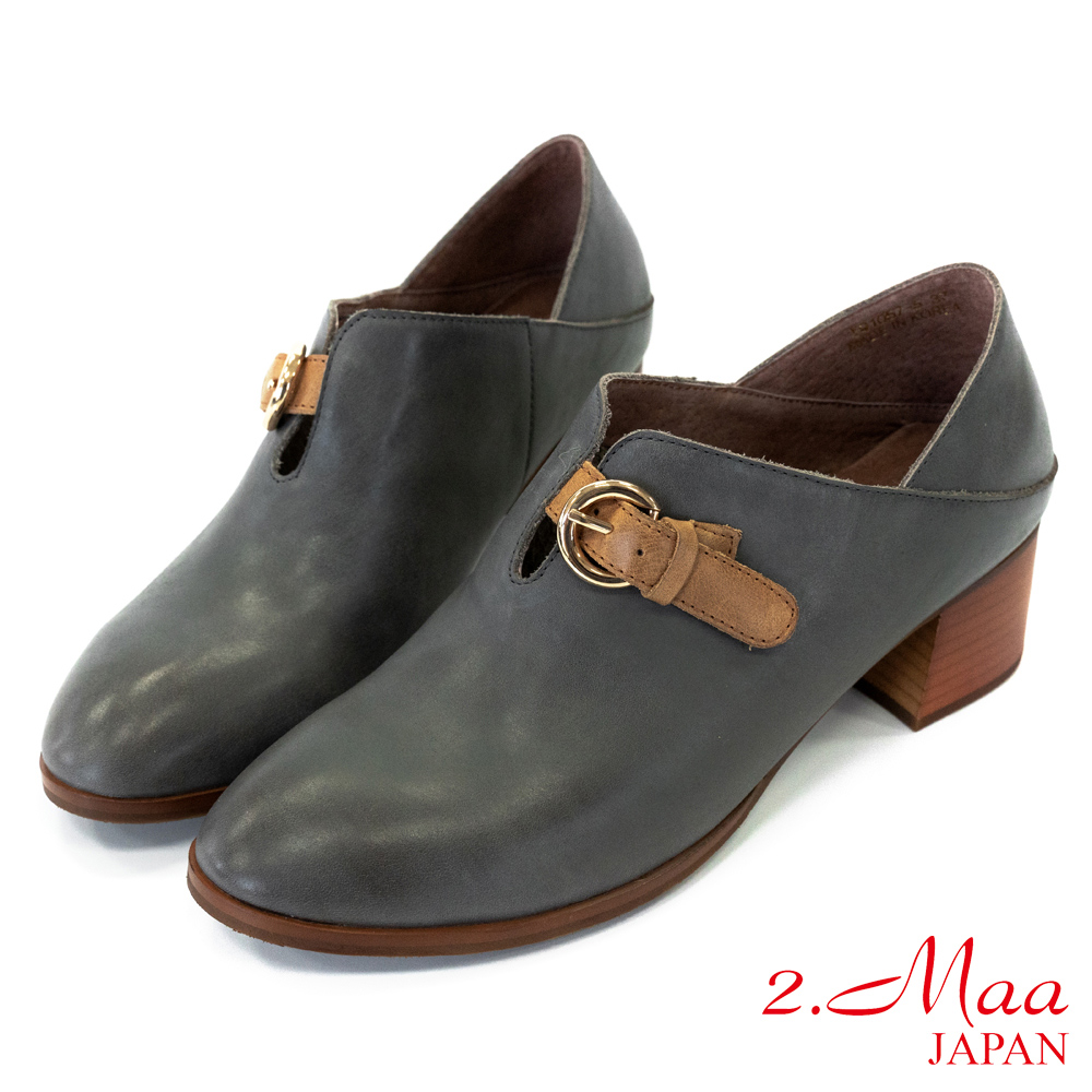 2.Maa 率性風格‧打蠟羊皮U口扣帶牛津跟鞋 - 深灰