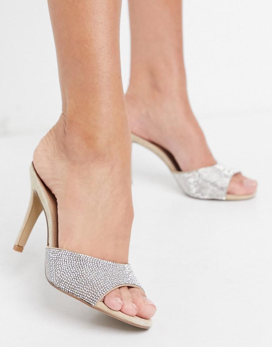 Steve Madden Erin slip on heeled mule sandals in rhinestone-Multi