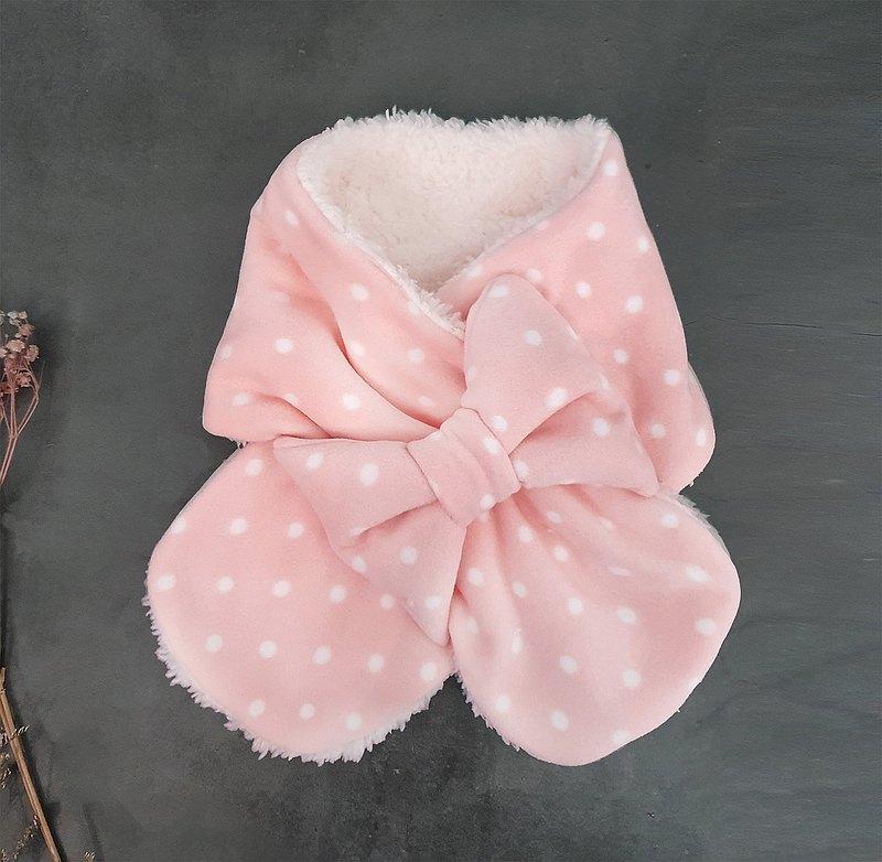 雪花波點 蝴蝶結  圍巾  手工製兒童保暖脖圍