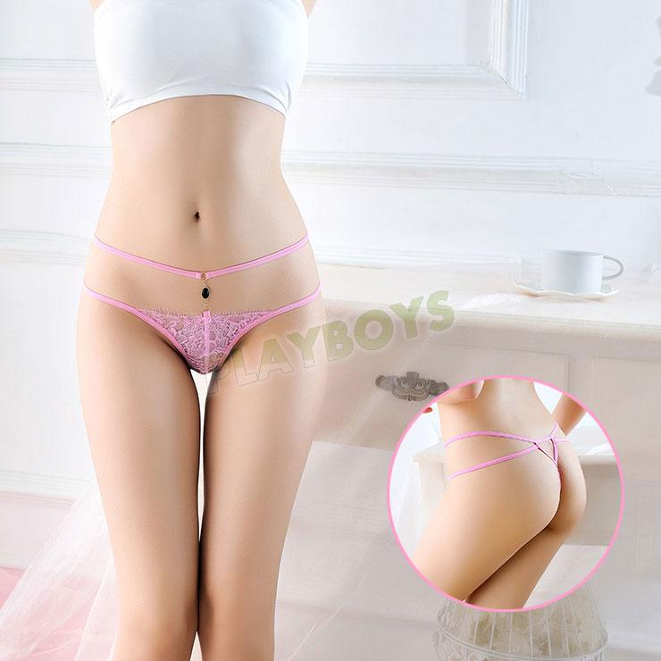 交織迷情寶石蕾絲丁字褲(粉)