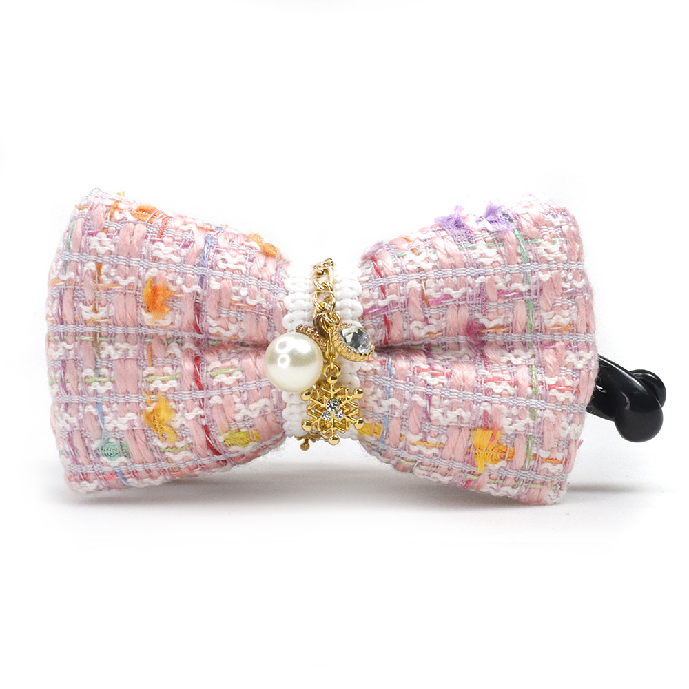 [台灣手工商品]繽紛色彩粉嫩粗紡編織香蕉夾 BC18179