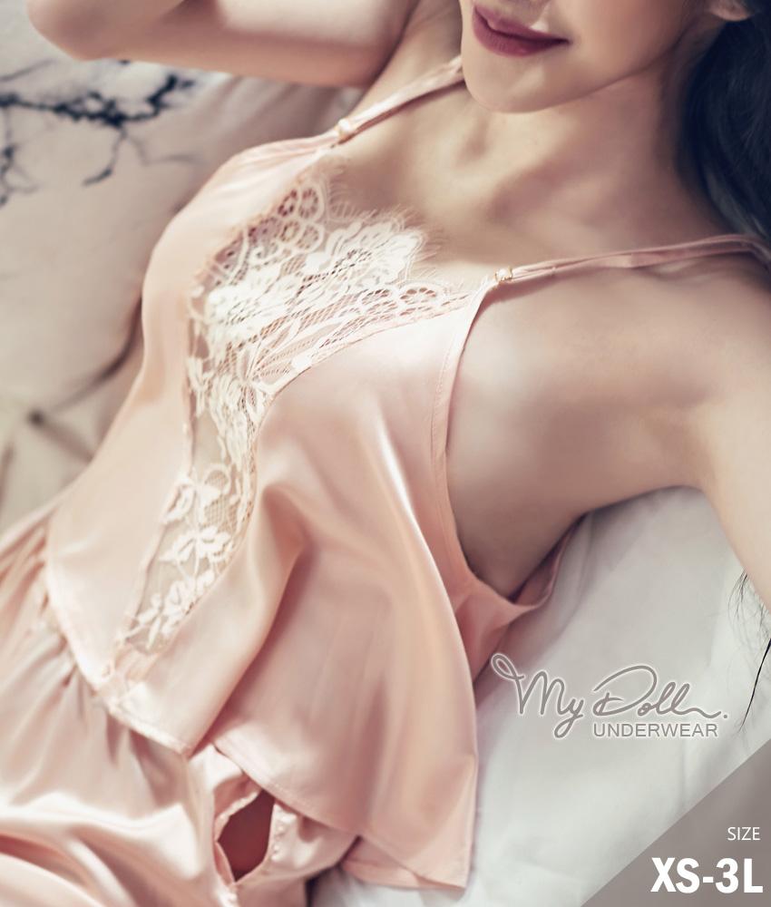 睡衣 MyDoll 梧桐花開 蕾絲緞面冰絲衣褲二件組(粉色/XS到3L適穿)
