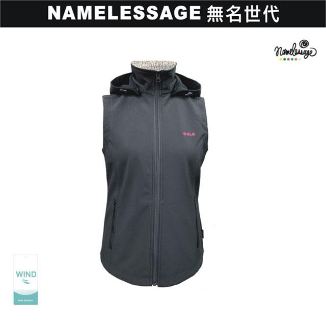 日本namelessage無名世代女款SOFT SHELL時尚防風背心(黑)_192W504