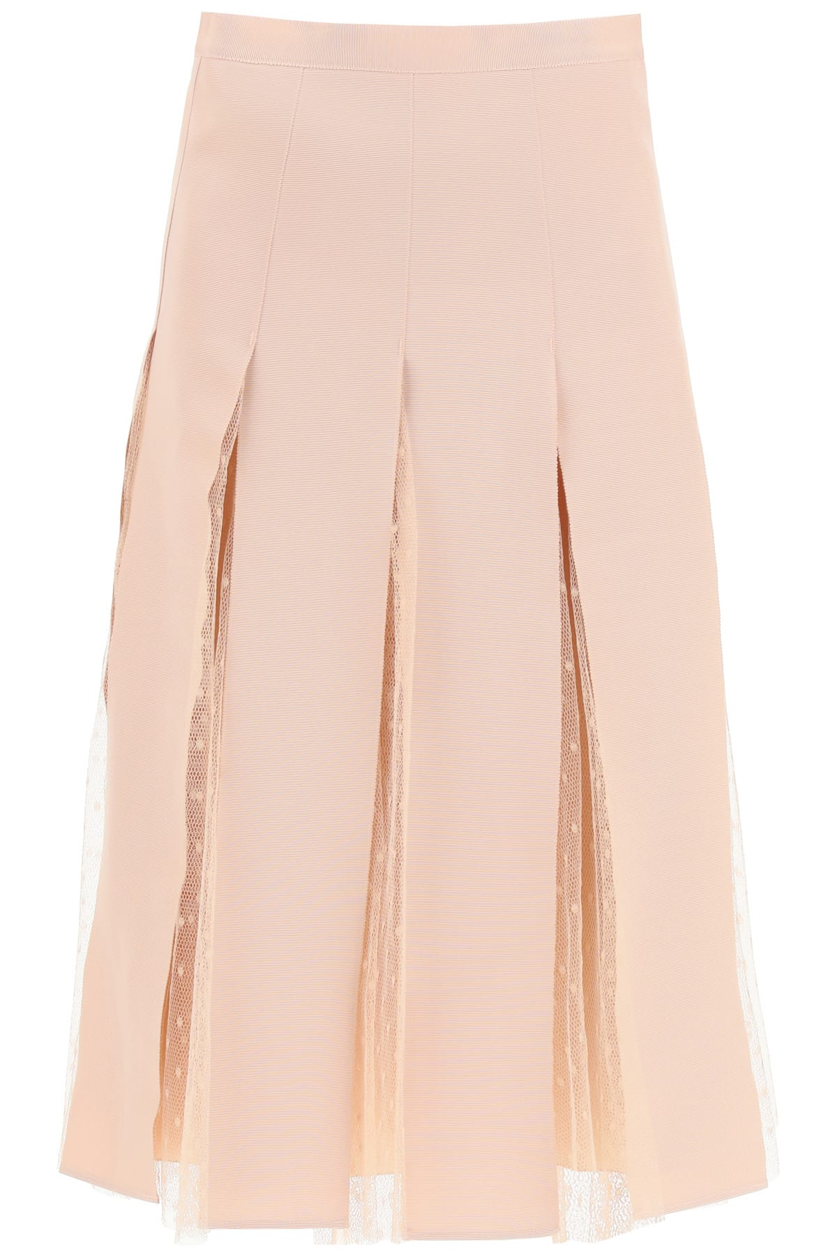 RED VALENTINO MIDI SKIRT IN GROSGRAIN AND TULLE 42 Pink