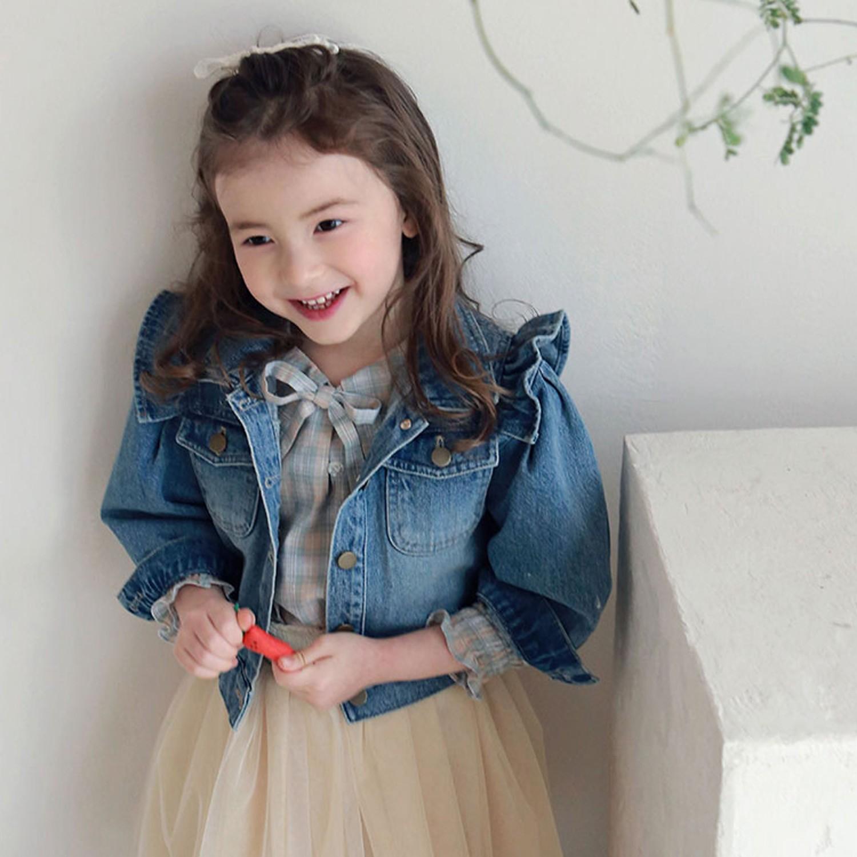韓國 PuellaFLO - 立體荷葉袖銅釦牛仔夾克-深藍