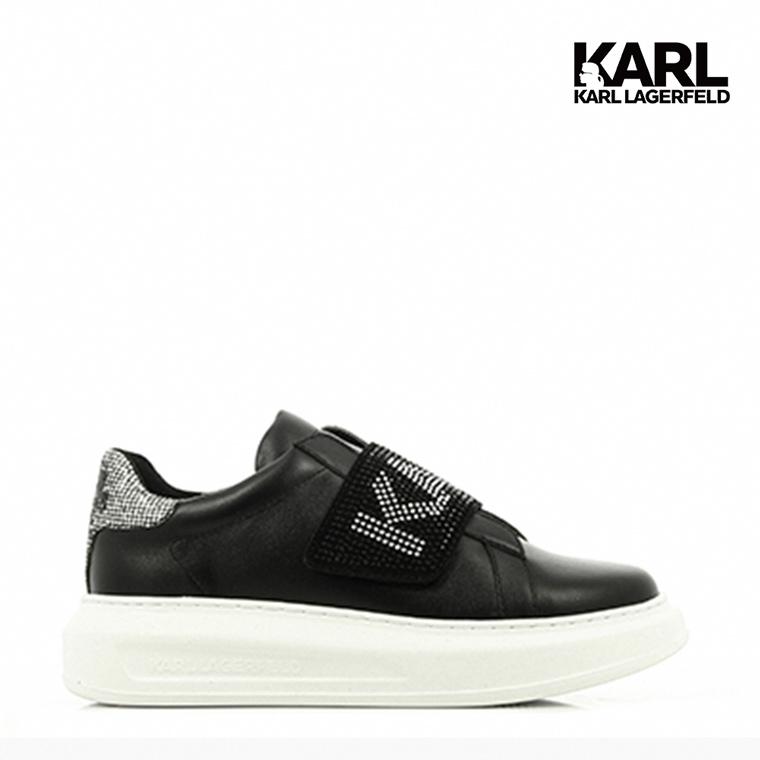 【KARL LAGERFELD】運動鞋 懶人鞋 休閒鞋 KAPRI水鑽KARL懶人運動鞋-黑  (原廠公司貨)