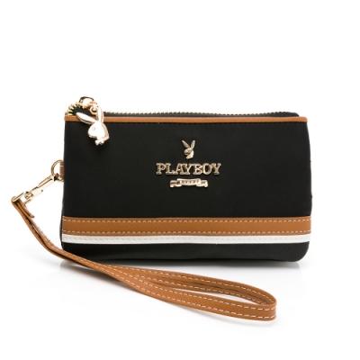 PLAYBOY-  零錢包附手挽帶 質感玩家3.0系列 -黑色