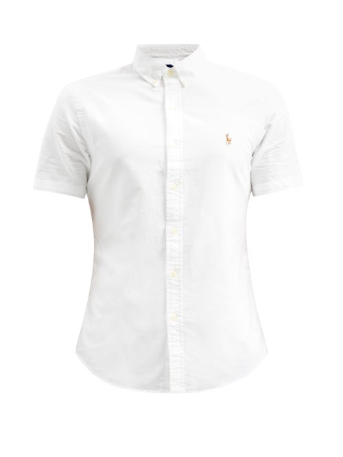 Polo Ralph Lauren - Logo-embroidered Short-sleeved Cotton Oxford Shirt - Mens - White