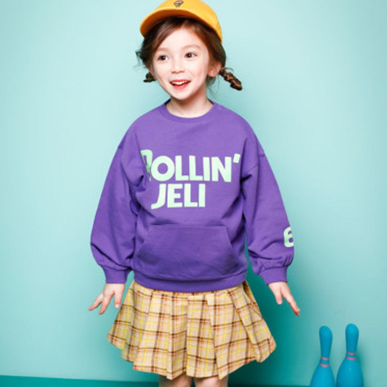 韓國 Jelispoon - 運動風格紋短裙套裝-紫