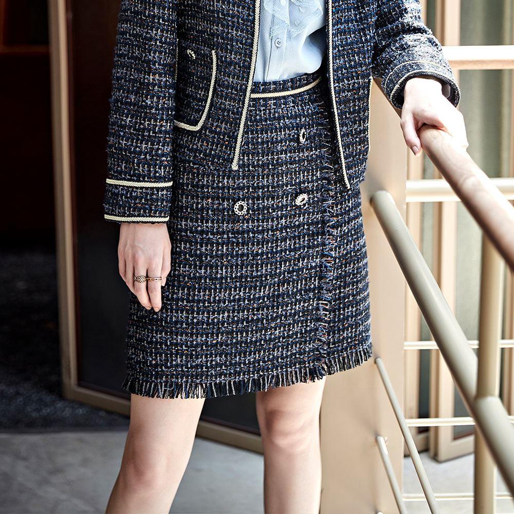 ILEY伊蕾 經典小香風雙排釦短裙(藍)053213