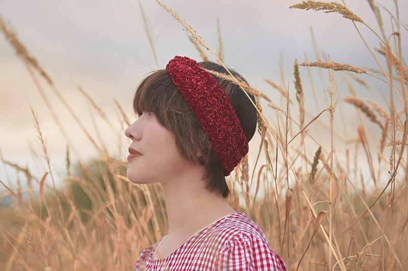 編織髮帶-花精系列/紅栗