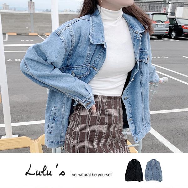 LULUS【A03210003】Y車線寬鬆牛仔外套2色